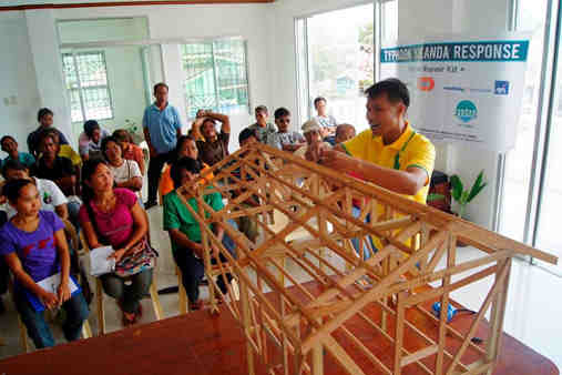 In photo: Carpenters train in how to Build Back Safer homes in Malinao, Aklan