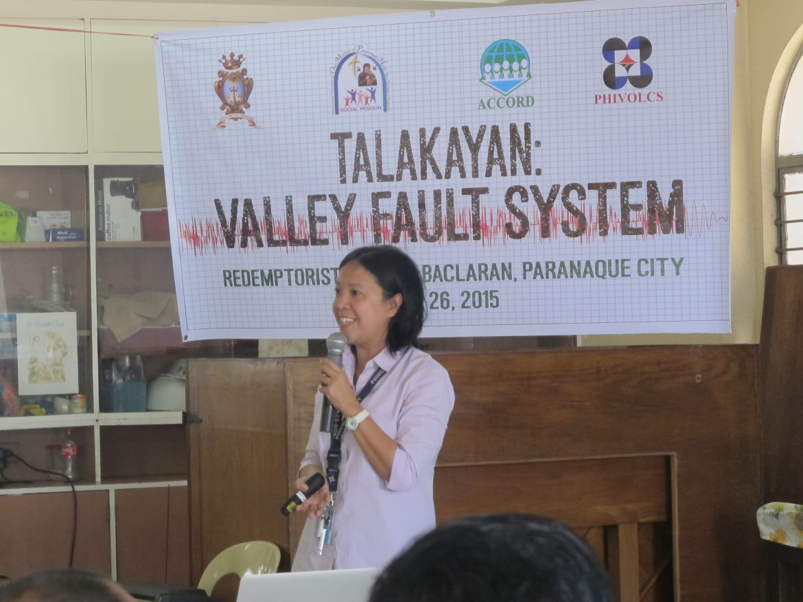 In photo: Ms. Joan Salcedo of PHIVOLCS serving as main resource speaker for the forum.